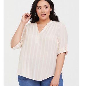 Torrid Light Pink Stripe Pullover Blouse